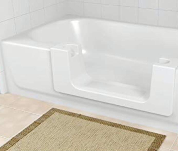 tub with door beige rug door out