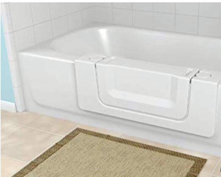 tub with door beige rug